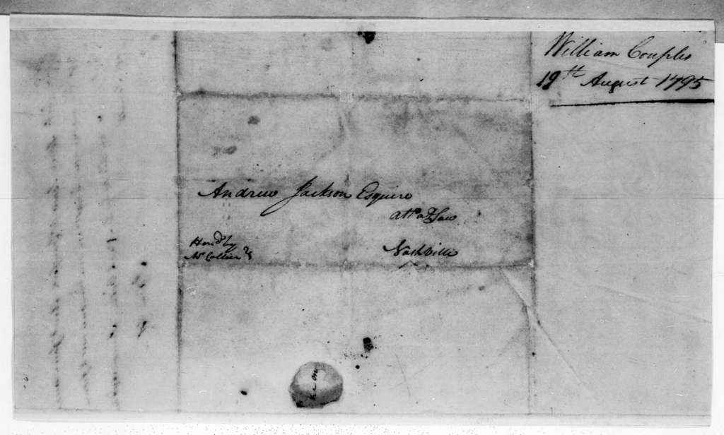 William Cupples [Couples?] to Andrew Jackson, August 19, 1795