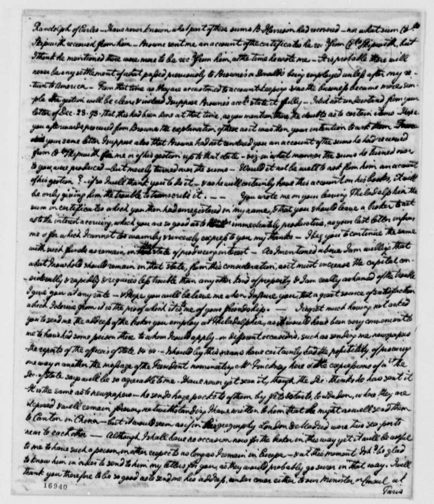 William Short to Thomas Jefferson, September 30, 1795