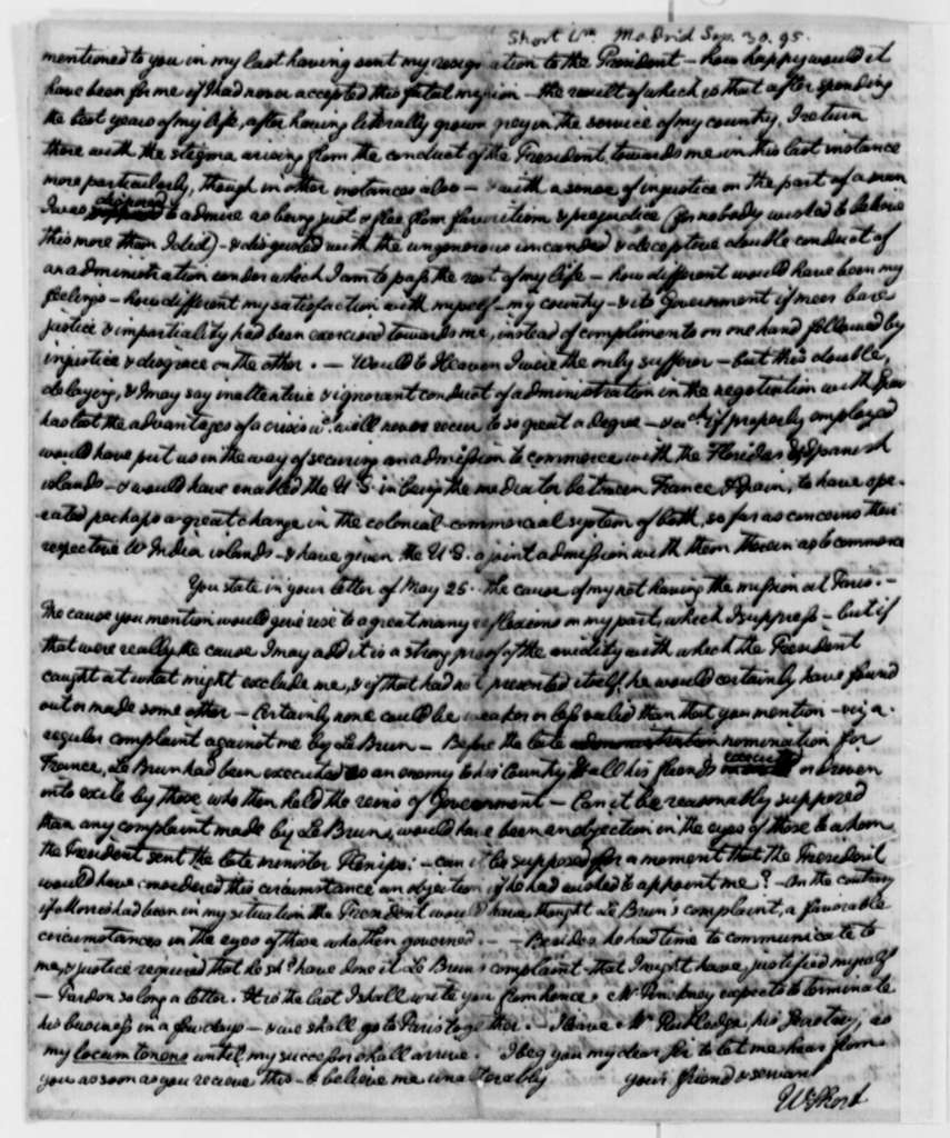 William Short to Thomas Jefferson, September 30, 1795