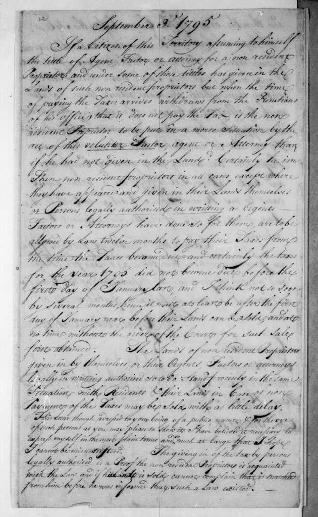 Willie Blount to J. Winchester et al., September 2, 1795