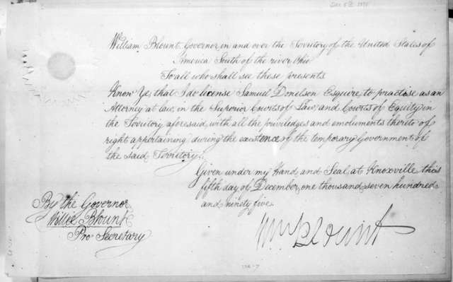 Willie Blount to Samuel Donelson, December 5, 1795