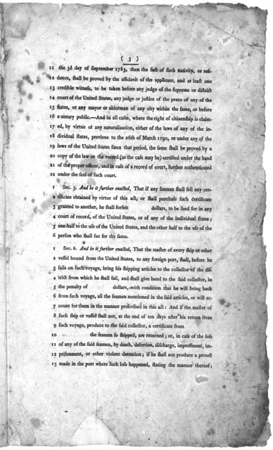 14th March, 1796. Read the first and second time, and committed to a committee of the whole House, on Monday next. A bill for the relief and protection of American seamen. [Philadelphia: Printed by Francis Childs, 1796].