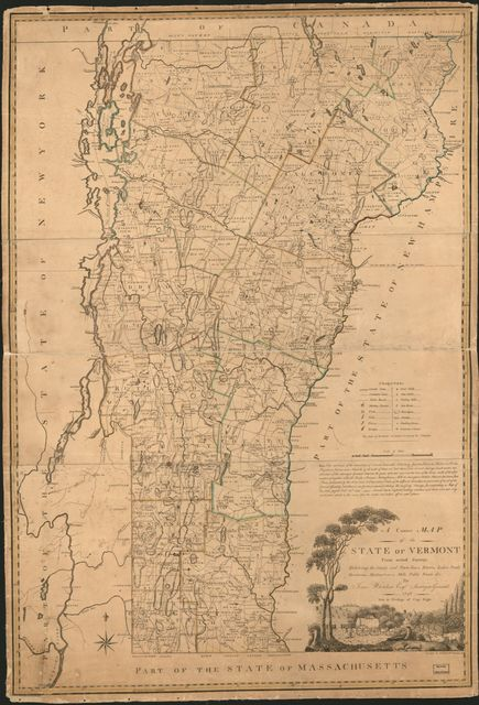 A correct map of the state of Vermont : exhibiting the county and town lines, rivers, lakes, ponds, mountains, meetinghouses, mills, public roads &c. /