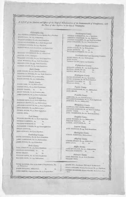 A list of the members and officers of the House of Representatives of the Commonwealth of Pennsylvania, with the places of their residence in the city of Philadelphia. [Philadelphia, 1796 or 7].