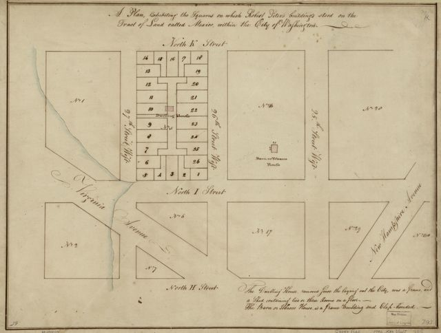 A plan exhibiting the squares on which Robert Peter's buildings stood on the tract of land called Mexico, within the city of Washington.