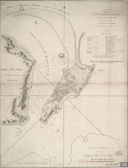 A Plan of the city and harbour of Macao: a colony of the Portugueze, situated at the southern extremity of the Chinese Empire in Lat. 22 ⁰12ʹ44ʺ N., long. 113⁰35ʹ0ʺ east of Greenwich /