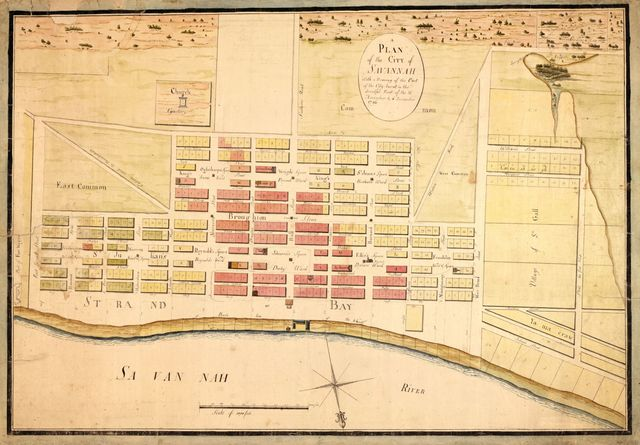 A plan of the city of Savannah : with a drawing of the part of the city burnt in the dreadful fires of the 26 November & 6 December, 1796.