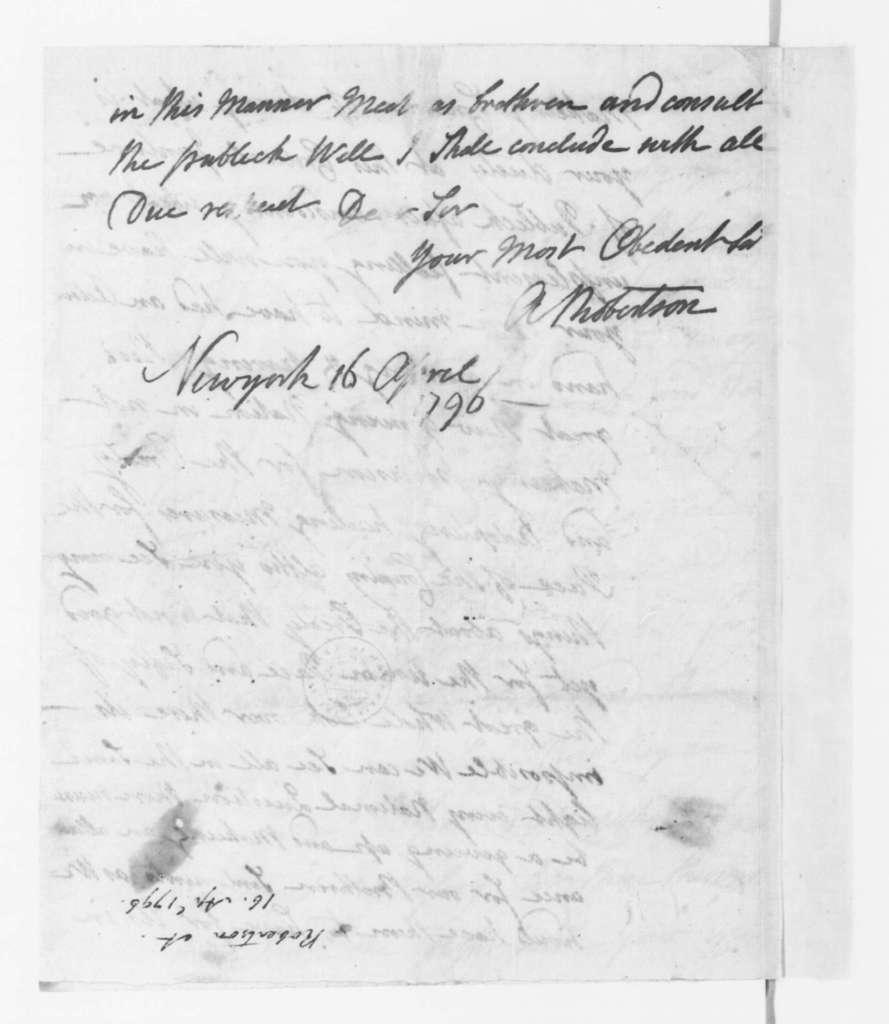 A. Robertson to James Madison, April 16, 1796.