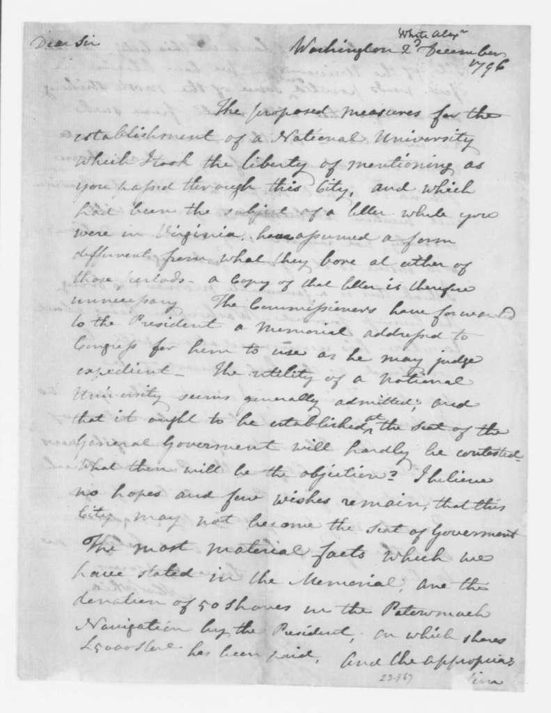Alexander White to James Madison, December 2, 1796.