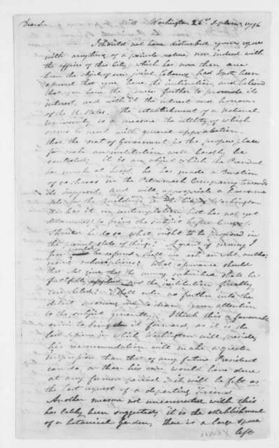 Alexander White to James Madison, September 26, 1796.