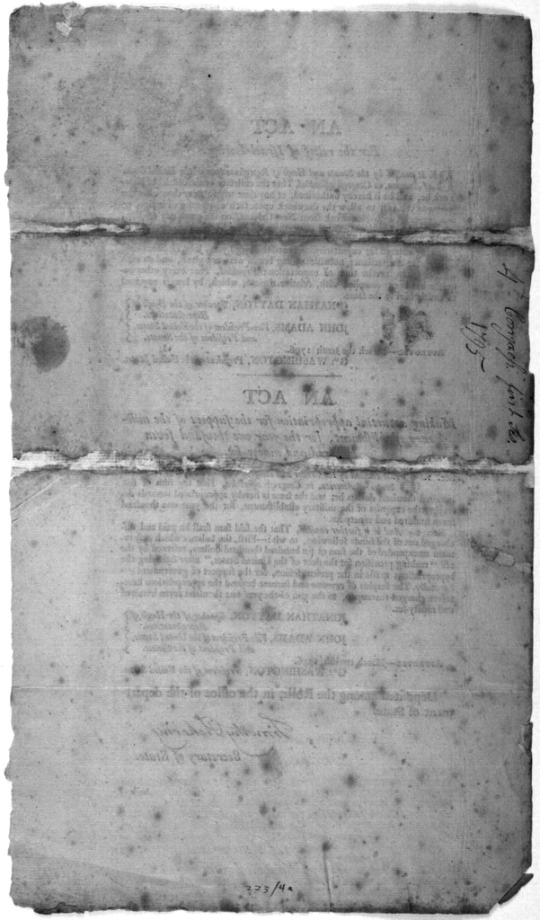 An act for the relief of Israel Loring. Followed by An act making a partial appropriation for the support of the military establishment, for the year one thousand seven hundred and ninety-six. [Philadelphia, 1796].