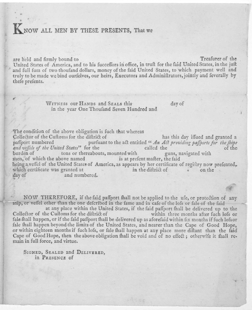 An act providing passports for the ships and vessels of the United States ... Approved- June the first 1796. Go: Washington, President of the United States. [Philadelphia: Printed by Francis Childs, 1796].