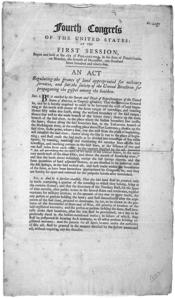 ... An act regulating the grants of land appropriated for military services, and for the society of the United Brethren for propagating the gospel among the heathen. [Followed by] An act for the admission of the state of Tennessee into the union