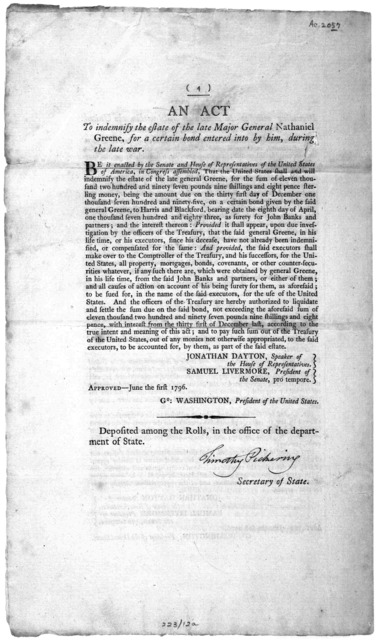 ... An act to regulate the compensation of clerks ... Approved- May the thirtieth, 1796 [Followed by] An act for the relief of persons imprisoned for debt ... Approved May the twenty eighth 1796. [Followed by] An act providing relief to the owne