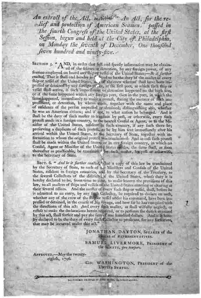 """An extract of the Act, entitled """"An act, for the relief and protection of American seamen; passed in the fourth Congress of the United States, at the first session, begun and held at the City of Philadelphia, on Monday the seventh of December, o"""