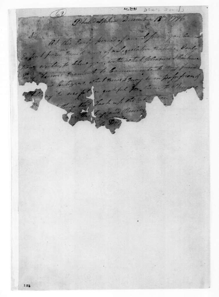 Andrew Jackson to Daniel Smith, December 18, 1796