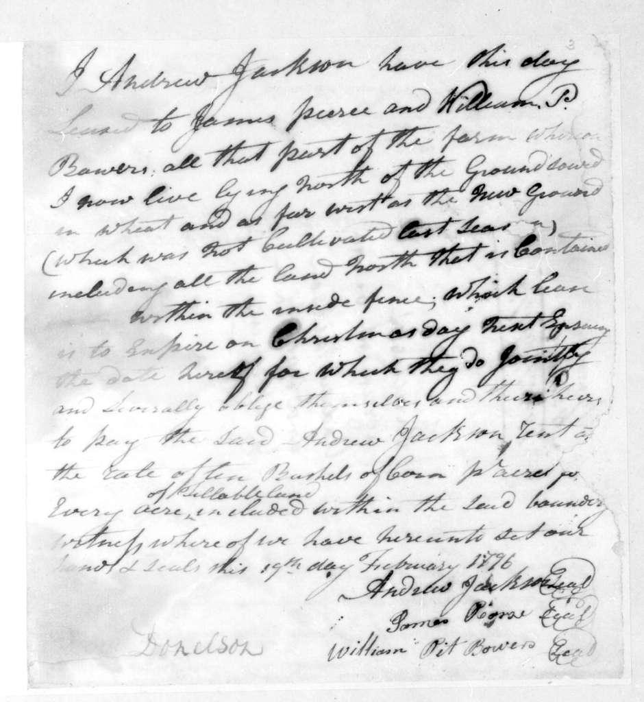 Andrew Jackson to James Pierce, February 19, 1796