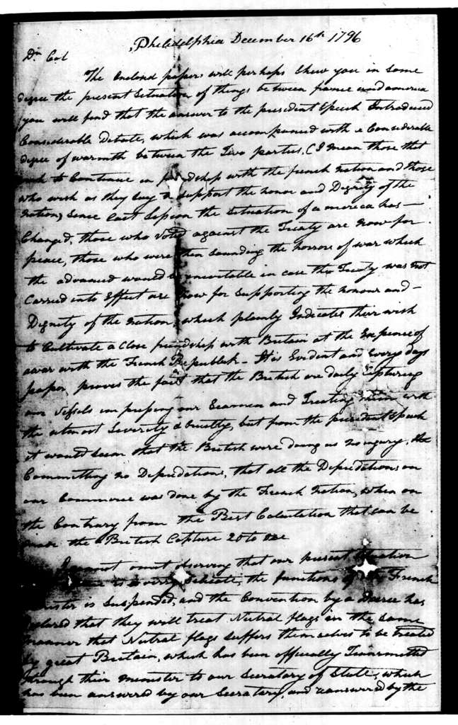 Andrew Jackson to Robert Hays, December 16, 1796