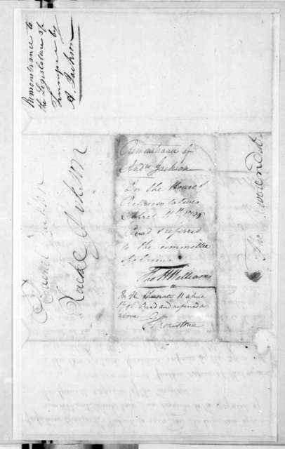 Andrew Jackson to Tennessee General Assembly, April 11, 1796
