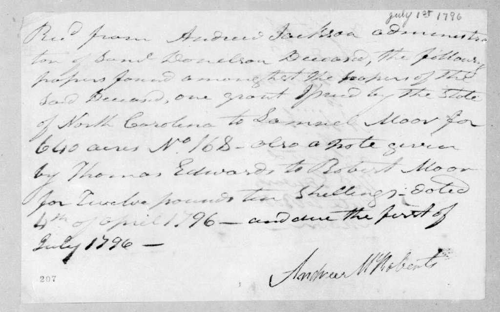 Andrew McRoberts to Andrew Jackson, July 1, 1796