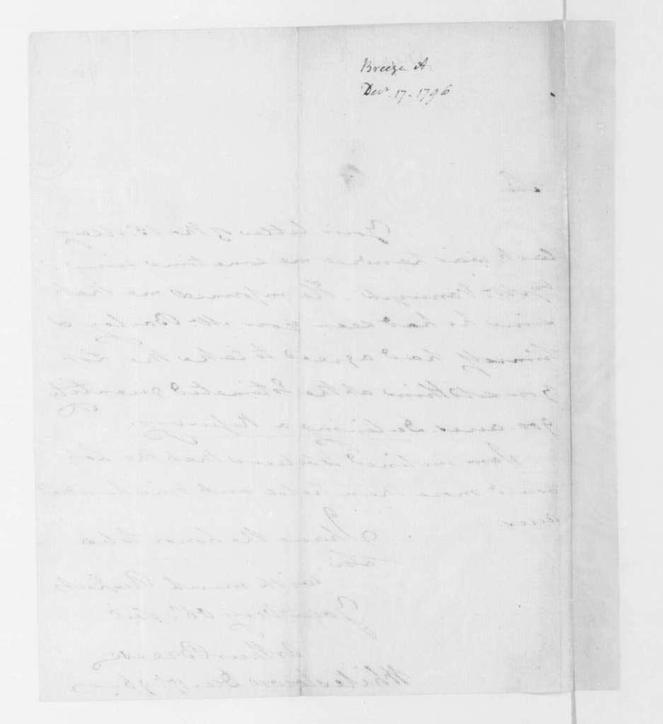 Arthur Breese to James Madison, December 17, 1796.
