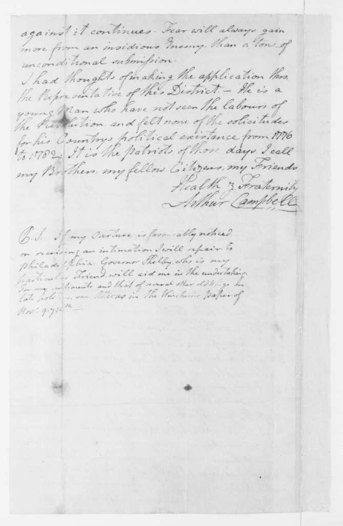 Arthur Campbell to James Madison, January 24, 1796.