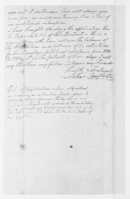 Arthur Campbell to James Madison, January 24, 1796.