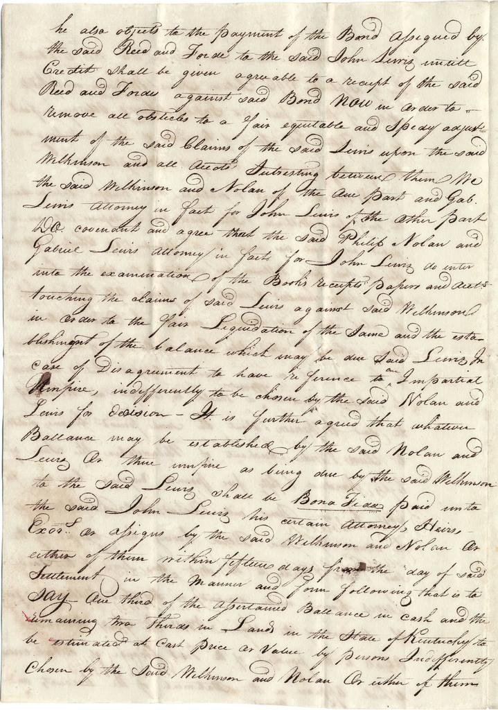 Articles of agreement between James Wilkinson, Philip Nolan, John Lewis, and Gabriel Lewis