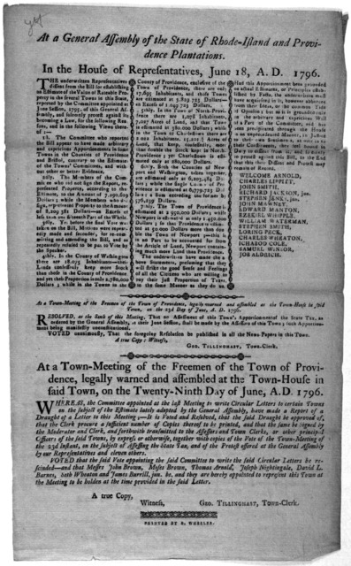 At a General Assembly of the State of Rhode-Island and Providence plantations. In the House of representatives, June 18, A. D. 1796. The underwritten representatives dissent from the bill for establishing an estimate of the value of rateable pro