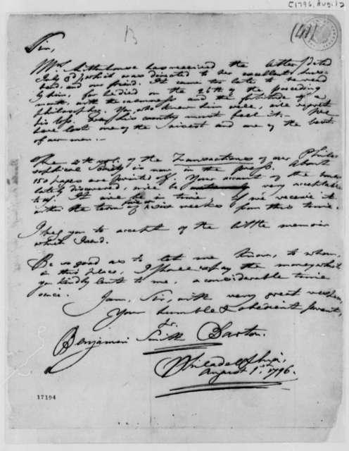 Benjamin Smith Barton to Thomas Jefferson, August 1, 1796