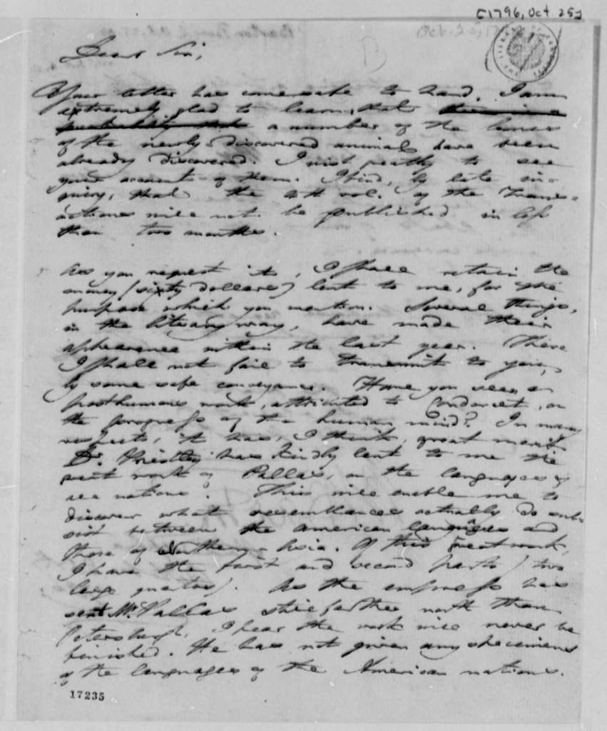 Benjamin Smith Barton to Thomas Jefferson, October 25, 1796