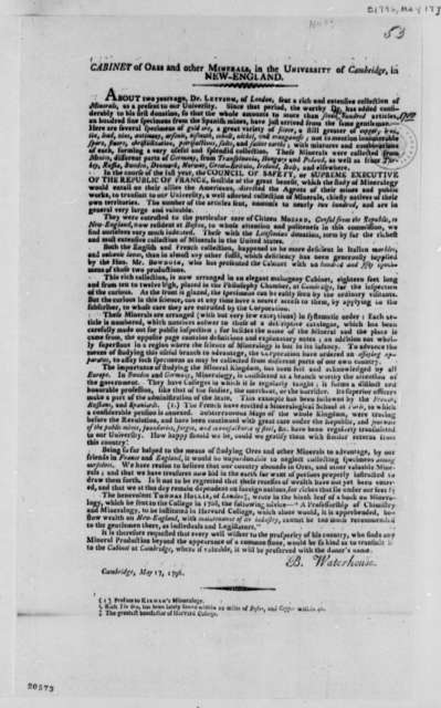 Benjamin Waterhouse, May 17, 1796, Article on Ores and Minerals