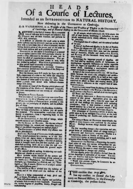 Benjamin Waterhouse, May 1796, Article on Natural History