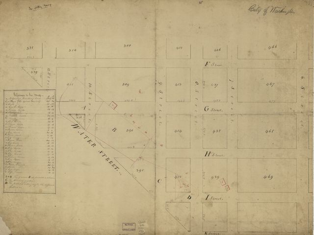 [Cadastral map of part of S.W. Washington D.C. showing land tracts and buildings belonging to Notley Young].