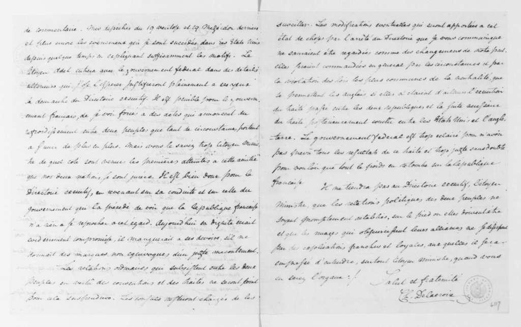 Charles Delacroix de Constant to James Monroe, October 7, 1796. In French.