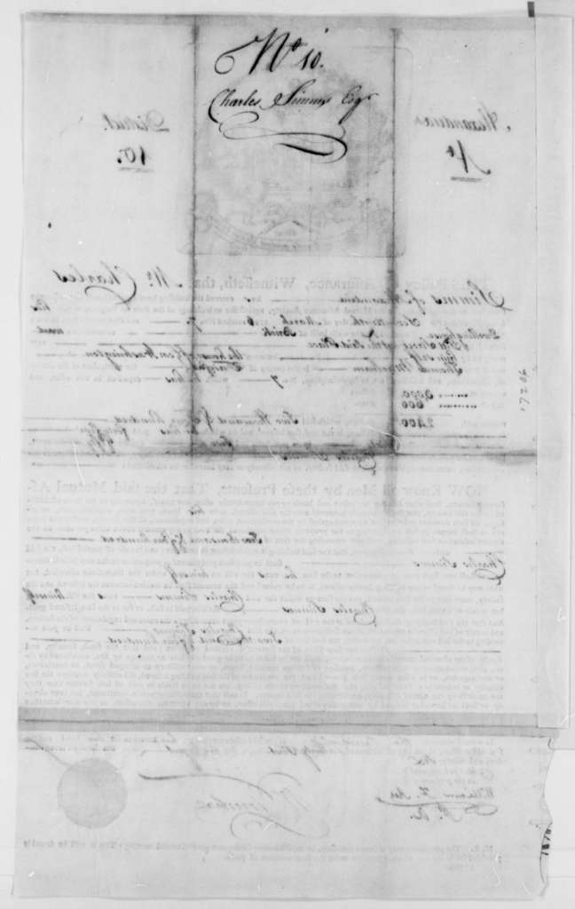 Charles Simms, March 17, 1796, Fire Insurance Policy
