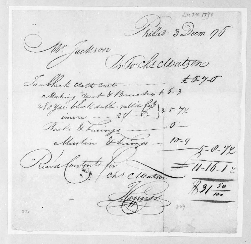 Charles Watson to Andrew Jackson, December 3, 1796