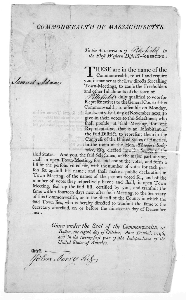 Commonwealth of Massachusetts. To the selectmen of [blank] in the first western district - Greeting … given under the seal of the commonwealth, at Boston, the eighth day of October, Anno Domini, 1796 [Boston 1796].