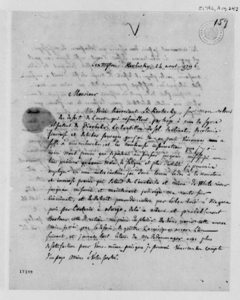 Count de Volney to Thomas Jefferson, August 24, 1796