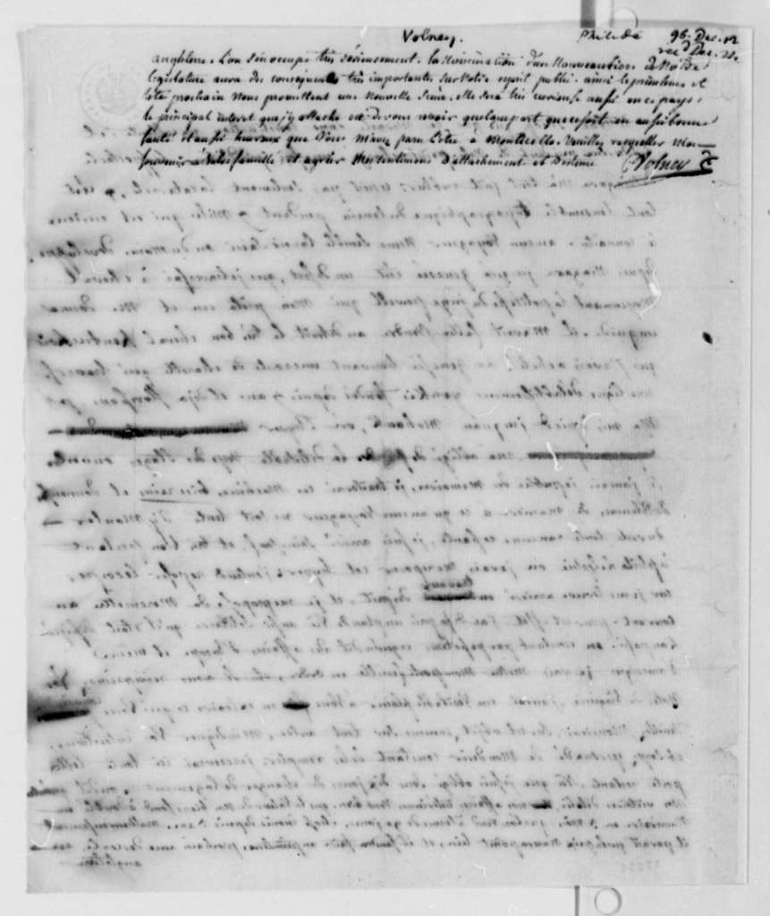 Count de Volney to Thomas Jefferson, December 12, 1796, in French