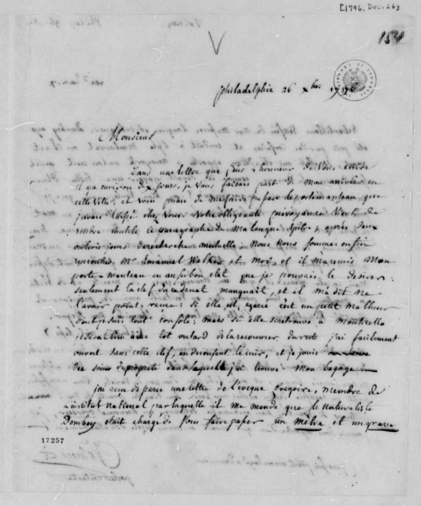 Count de Volney to Thomas Jefferson, December 26, 1796, in French