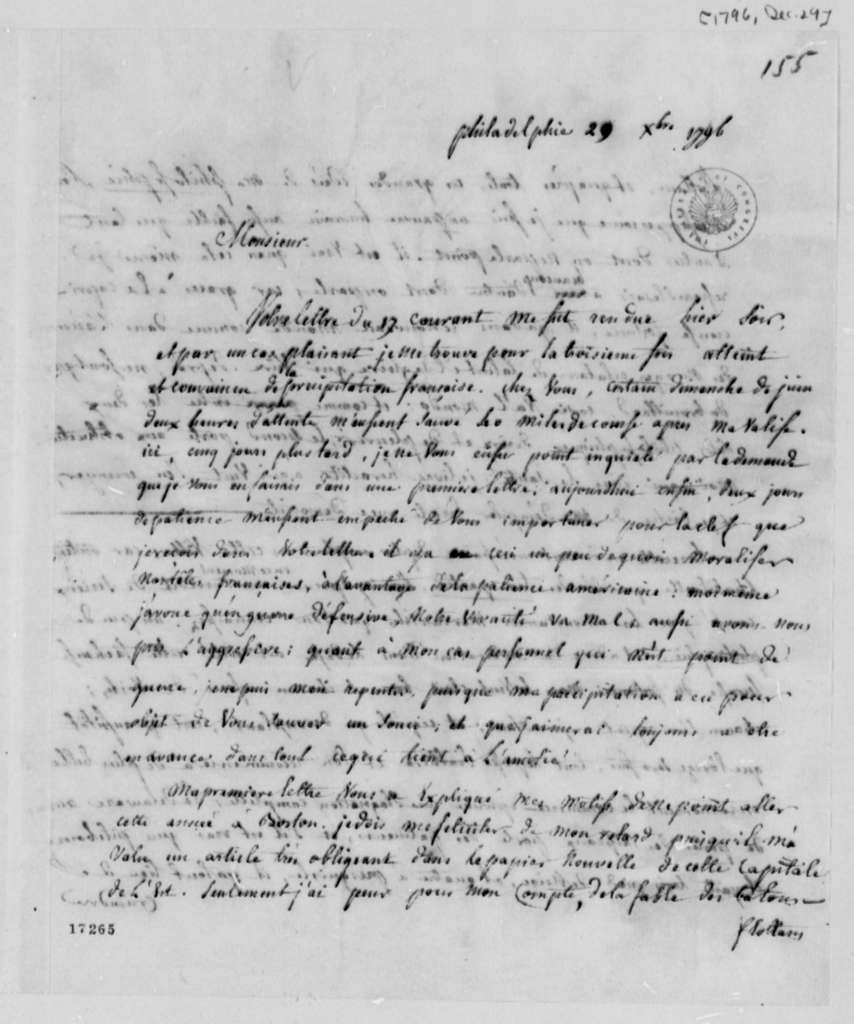 Count de Volney to Thomas Jefferson, December 29, 1796, in French