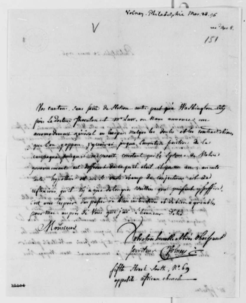 Count de Volney to Thomas Jefferson, March 28, 1796, in French