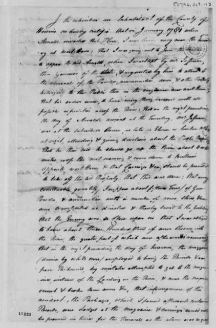 Daniel L. Hylton, October 12, 1796, Deposition Certificate