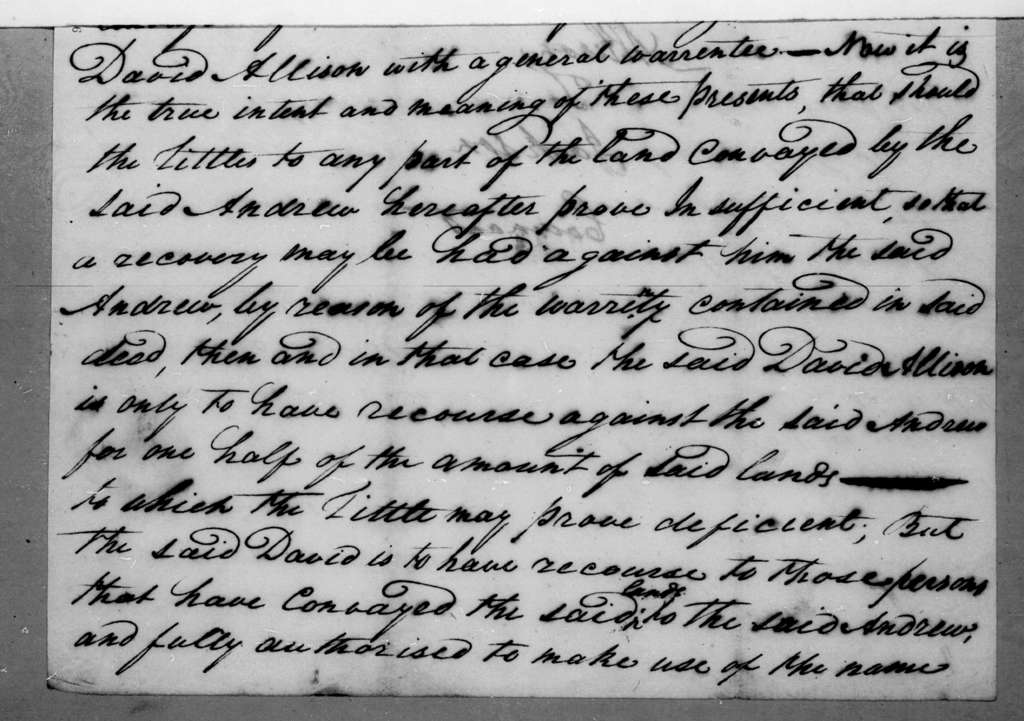 David Allison to Andrew Jackson, June 11, 1796