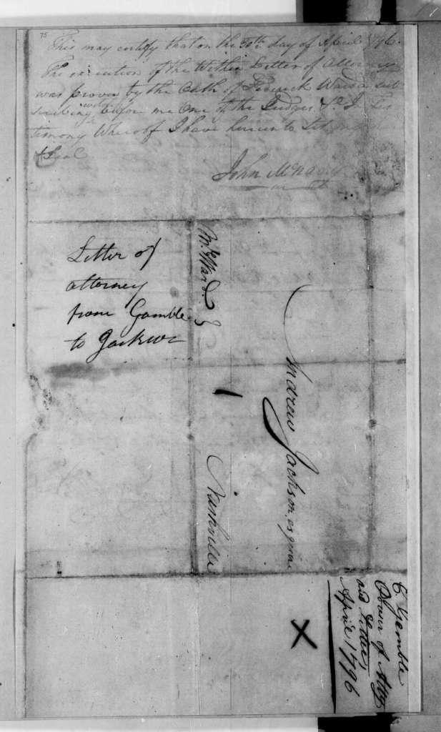 Edmund Gamble to Andrew Jackson
