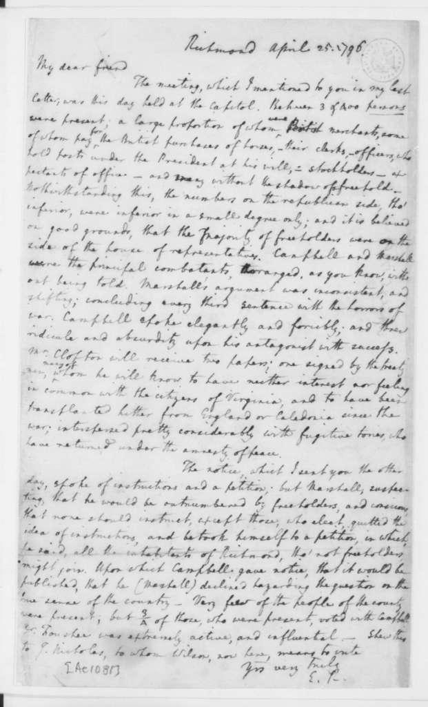 Edmund Randolph to James Madison, April 25, 1796.