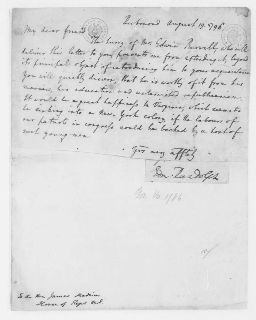Edmund Randolph to James Madison, August 19, 1796. Introduces Edwin Burwell.