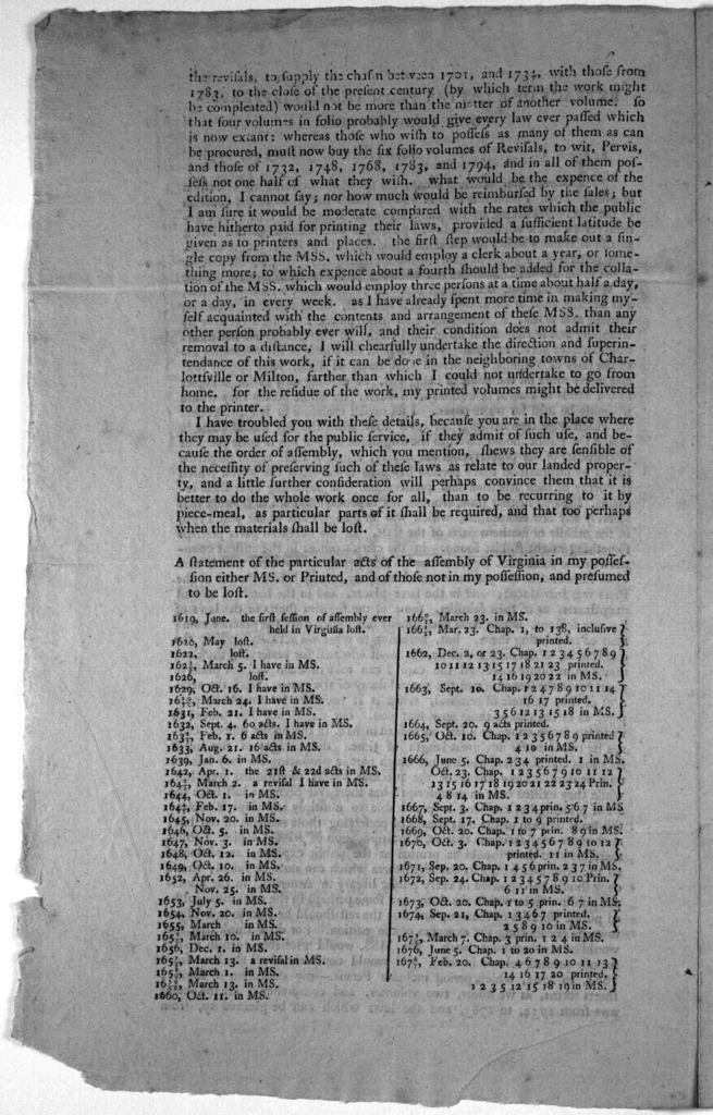 Extract of a letter from Thomas Jefferson to George Whythe. Monticello. January 16, 1796. In my letter which accompanied the box containing my collection of printed laws, I promised to send you by post a statement of the contents of the box. On