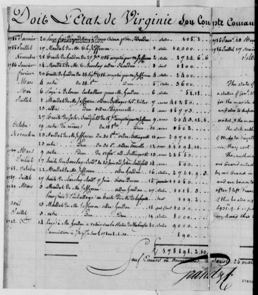 "Ferdinand Grand & Company & Virginia, March 20, 1796, ""Doit L'Etat de VirginieHex found {hexe0} ."""